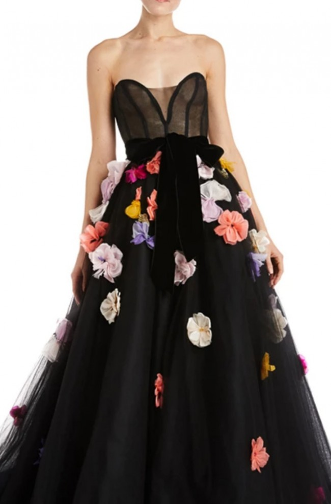 Monique Lhuillier, Floral Embroidered Tulle Ball Gown