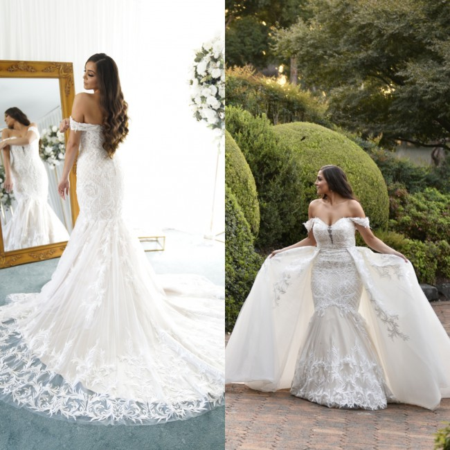 Idora Bridal Custom Made with Detachable skirt, veil and hoop