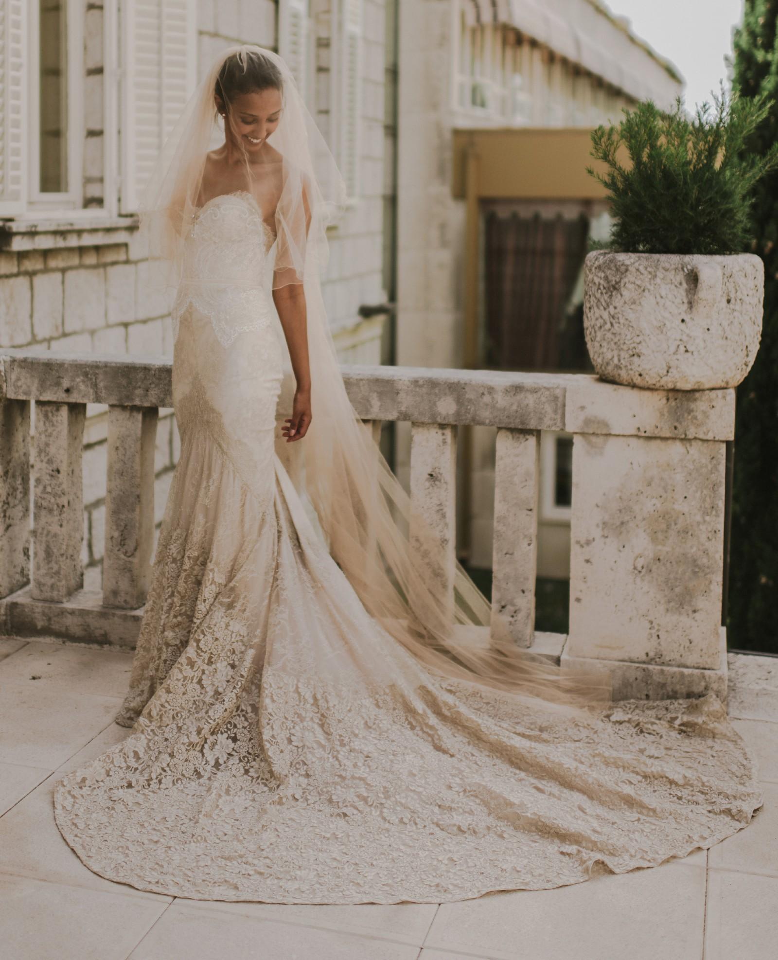Inbal Dror Wedding Gowns: Inbal Dror Custom Made 14-10 Used Wedding Dress On Sale 49