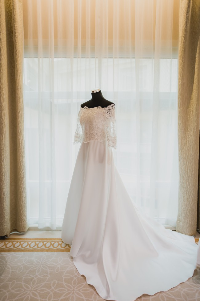 Dino Lloren, Swarovski Embelished Off-Shoulder Wedding gown