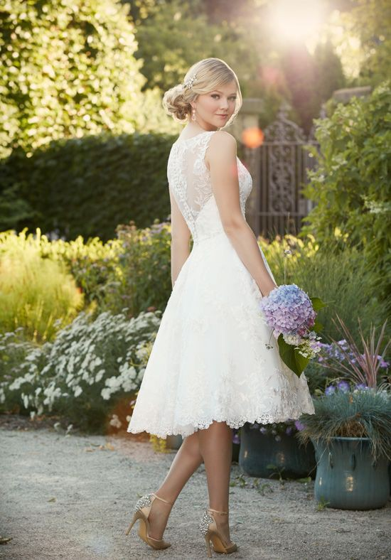 Essense of Australia, D2101 EMBROIDERED KNEE-LENGTH WEDDING GOWN
