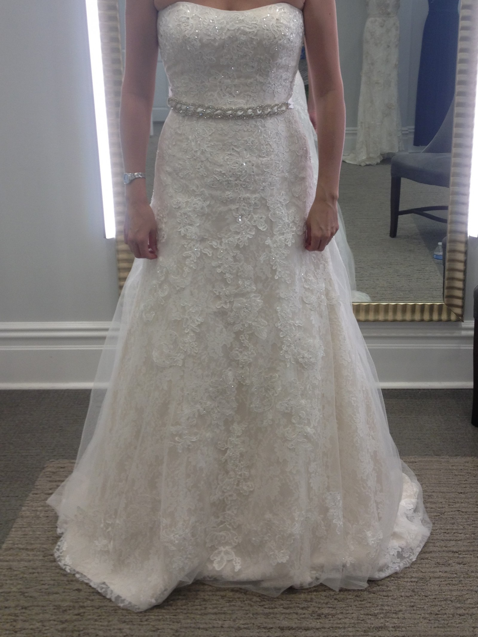 215d7ac4072 David s Bridal Jewel Lace A-Line Wedding Dress with Beading New ...