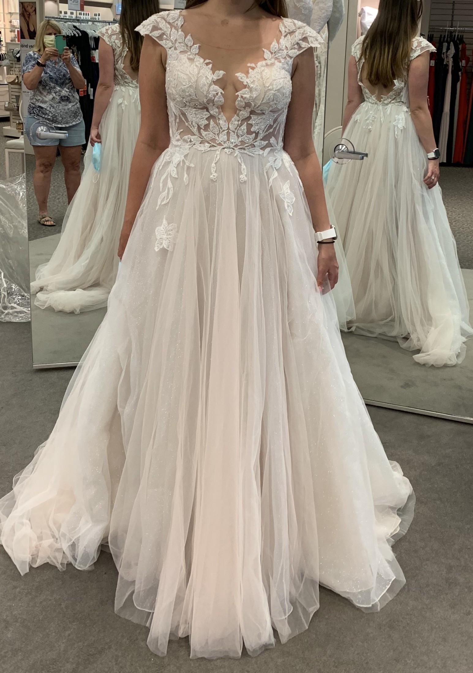 Galina Signature Illusion Cap Sleeve Lace Appliqued Wedding Dress