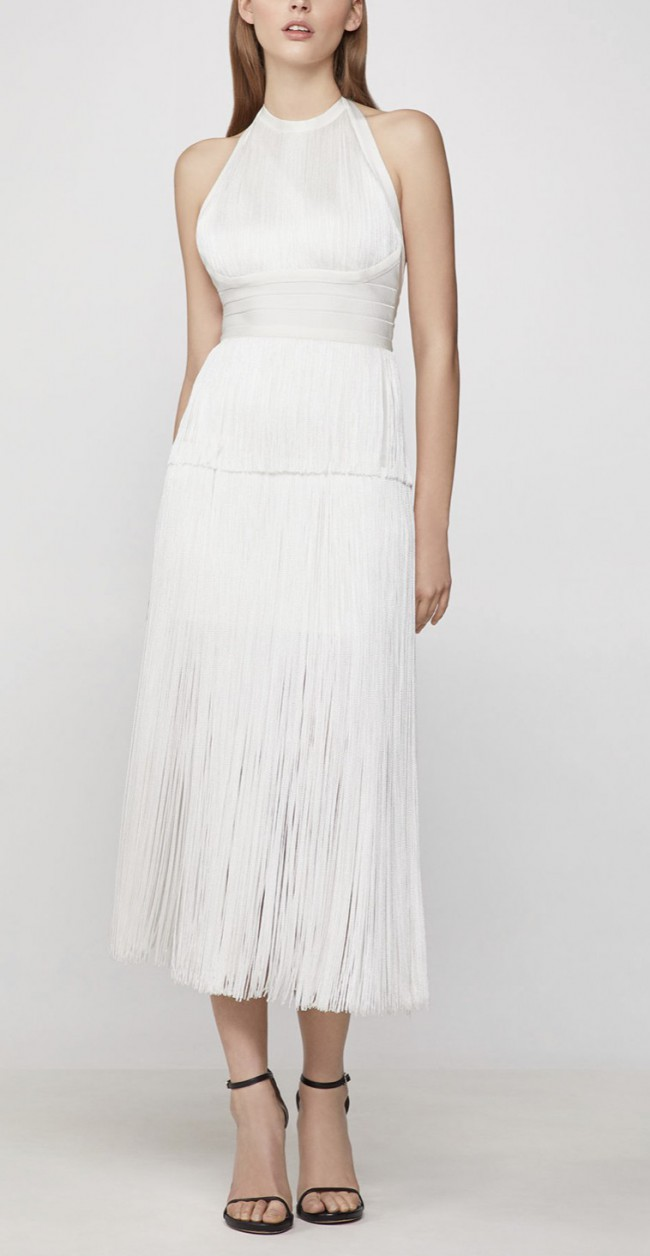 Herve Leger, Tiered Fringe Midi Dress