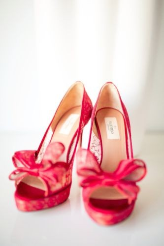 Valentino, Red Lace Couture D'Orsay Bow Pump