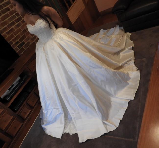 Regal Bridal, European box pleat vintage gown