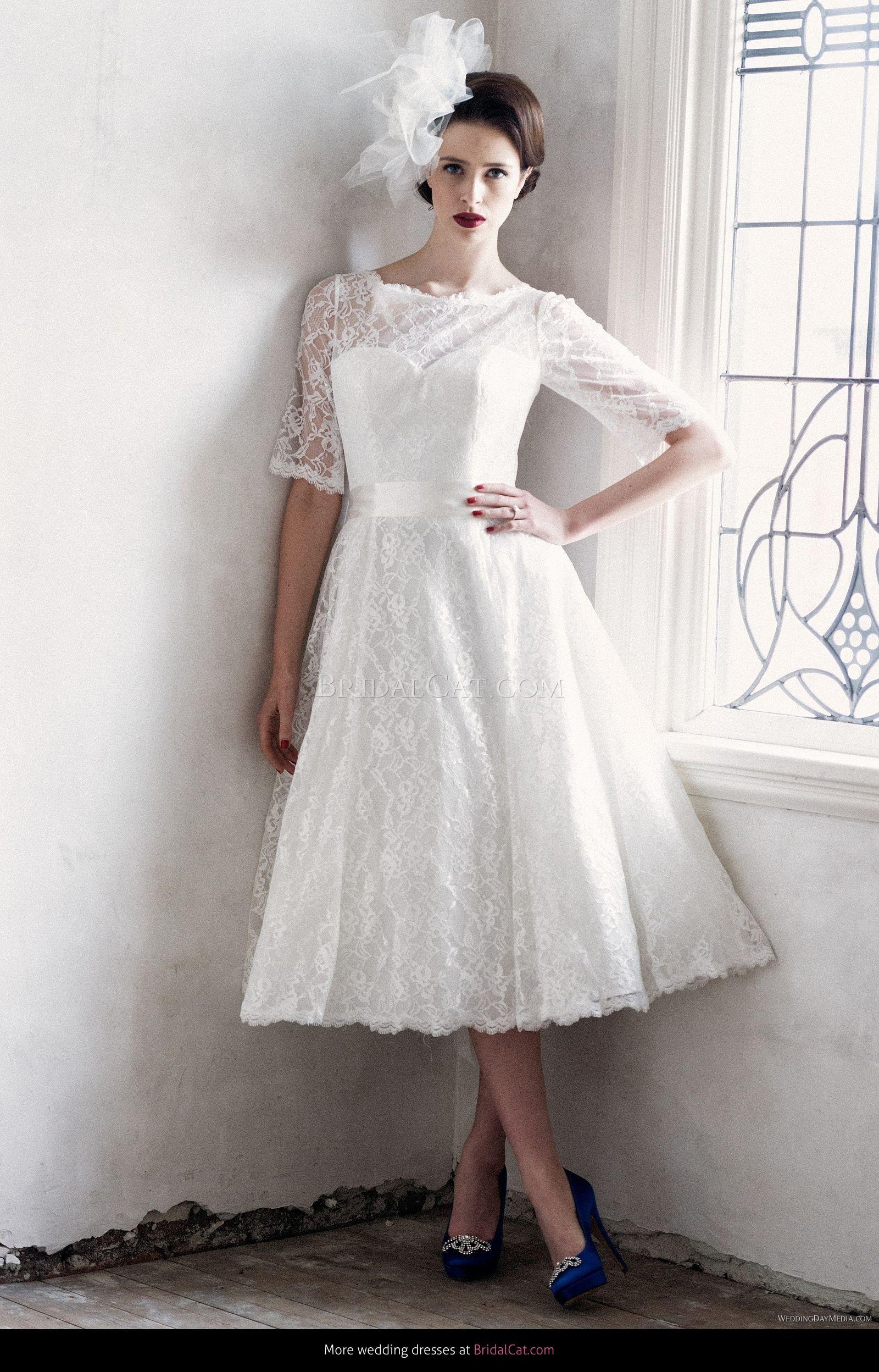 New  Lace Tea Length Wedding Dress White//Ivory Short Bride Dress Size 6-18