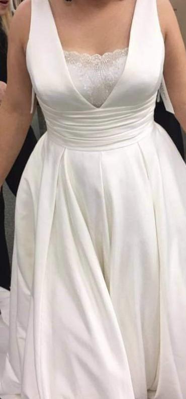 David's Bridal Satin Cummerbund Ball Gowns  V3848