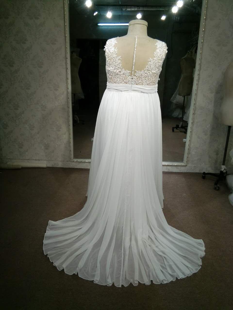 A Line Plus size empire waist bridal gown New Wedding Dress Save 20