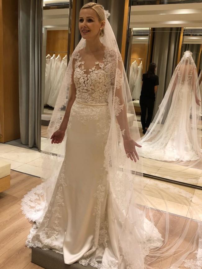 Pronovias Dralia Ivory Crystal Nude Wedding Dress