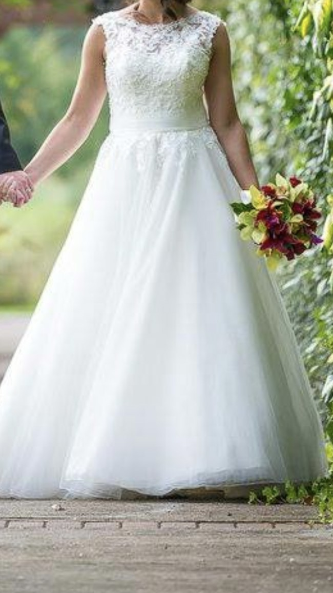 Sincerity Bridal Beaded Venice Lace and Tulle Ball Gown