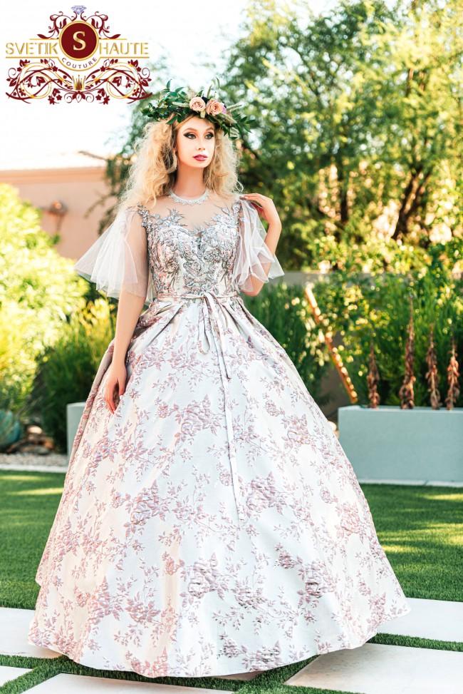 Svetik's Haute Couture, Golden Blush 3D Brocade/3D Beaded Lace