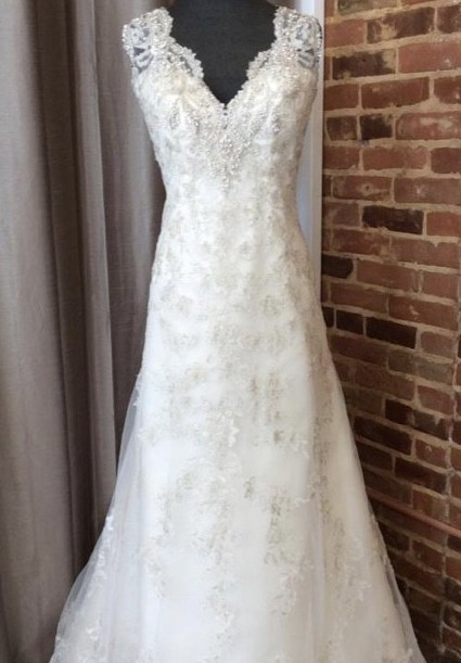 Maggie Sottero Antique Ivory/Pewter Beaded Lace 5ms702 Formal Wed