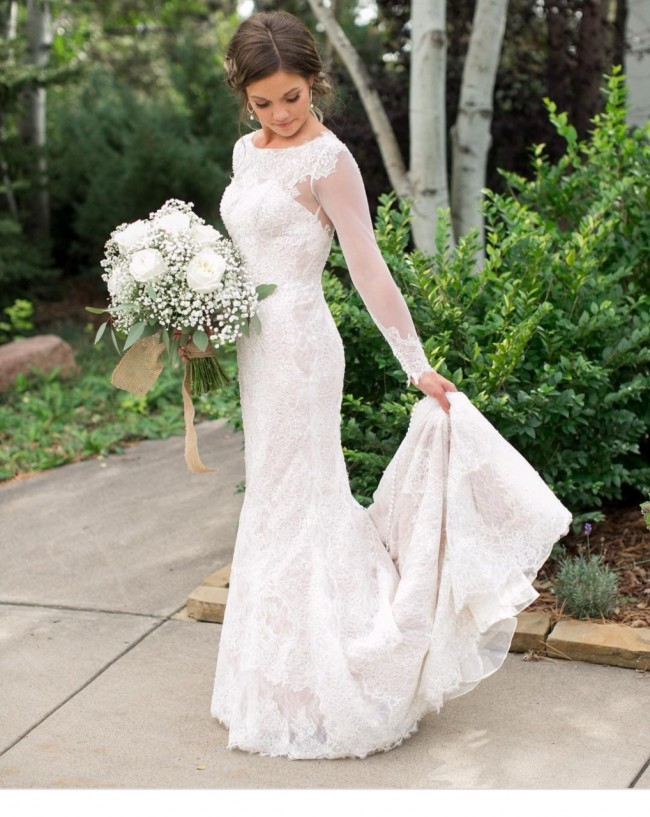Oleg Cassini Oleg Cassini Illusion Long Sleeve Wedding Dress