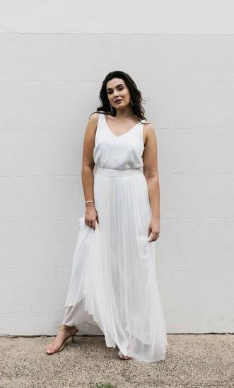 Fiona Claire, V neck silk tank + Silk tulle Skirt