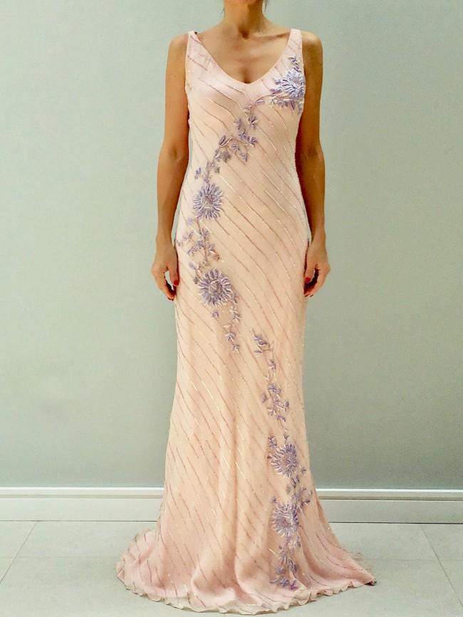 Sharon Cunningham Pale Pink Beaded Bias cut gown