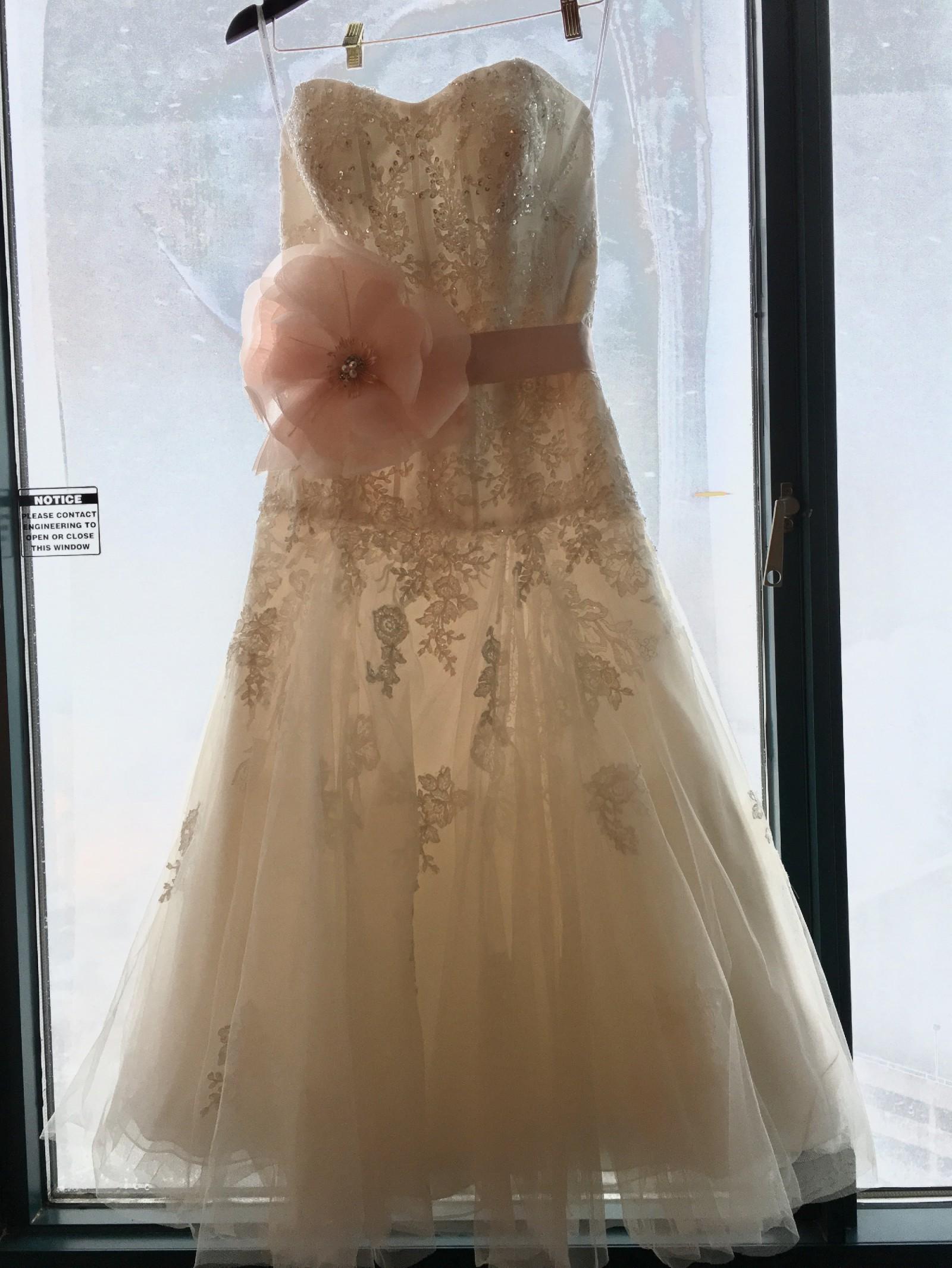 Oleg Cassini Tea Length Wedding Dress with Lace Style CWG743
