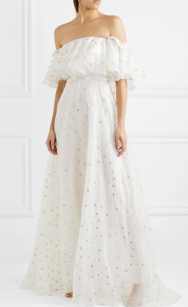 Temperley London, Off-the-shoulder metallic fil coupé organza gown