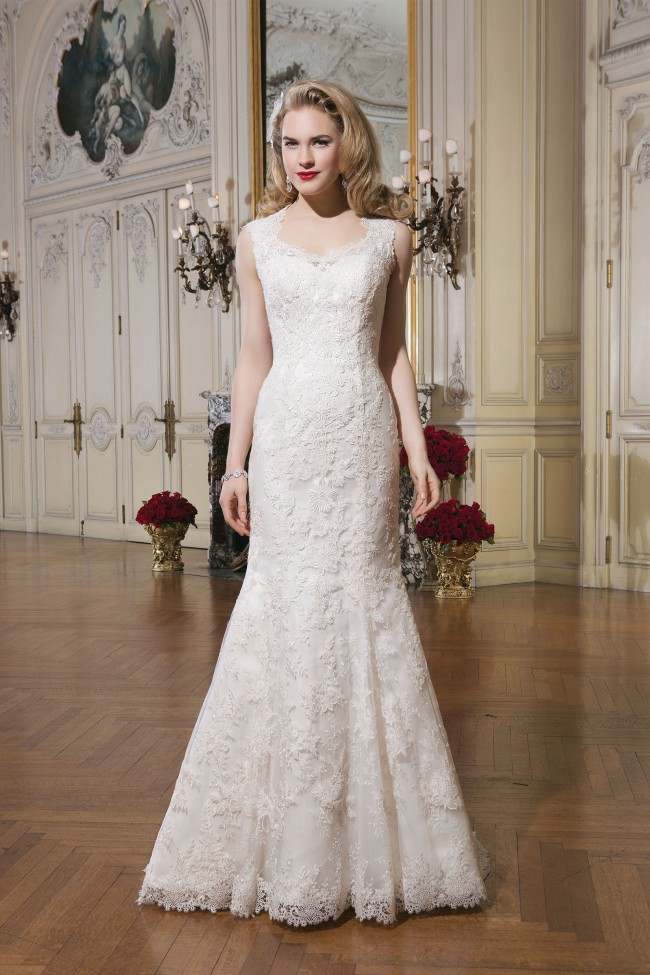 Justin Alexander Style 8656 Queen Anne Lace and Organza Mermaid