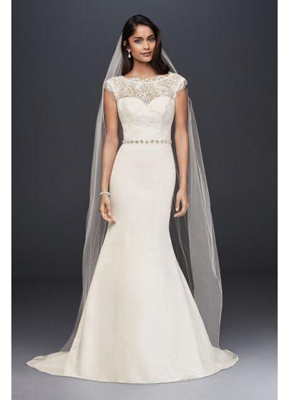 David's Bridal Collection Illusion Lace and Satin Mermaid Wedding Dress
