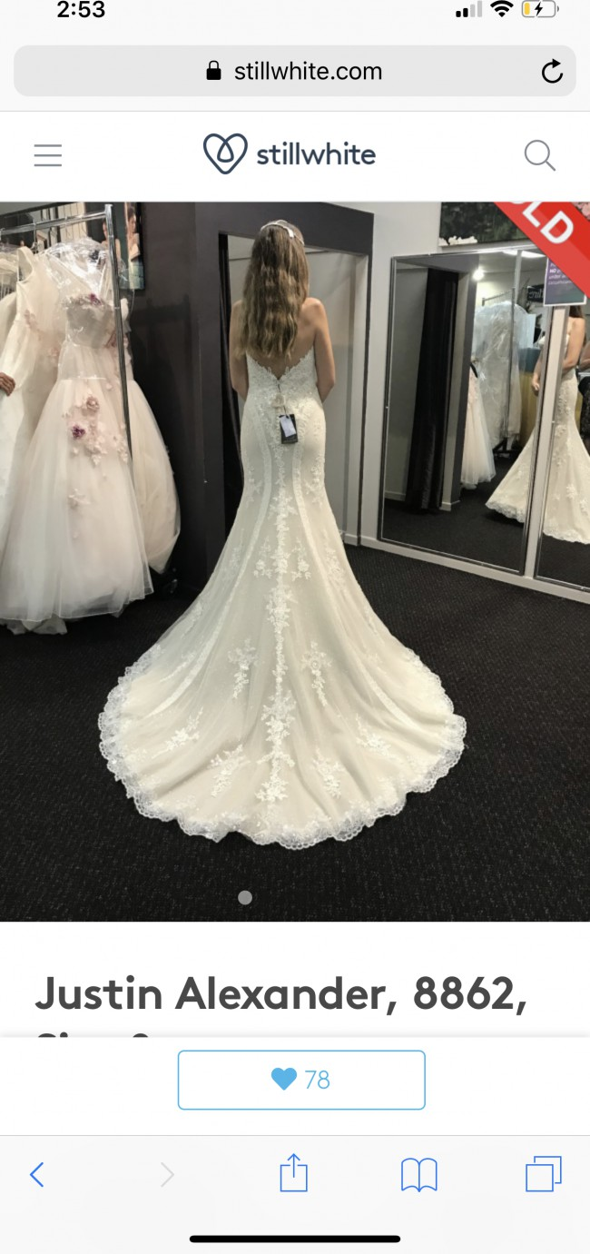 7925d9ba9325 Fit & Flare Second Hand Wedding Dress on Sale 53% Off - Stillwhite ...