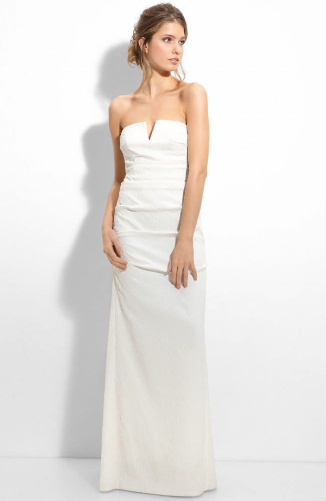 Nicole Miller, Pintucked Jacquard Fishtail Gown