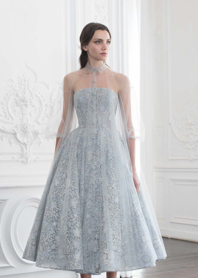 Paolo Sebastian Embroidered Ballerina Tulle Gown Dress
