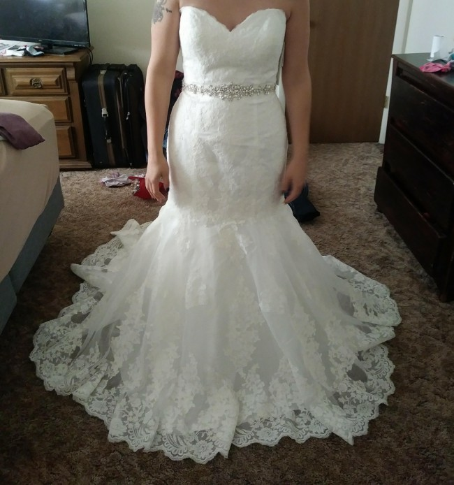 David's Bridal Collection Sweetheart Trumpet Wedding Dress with Beaded Sash