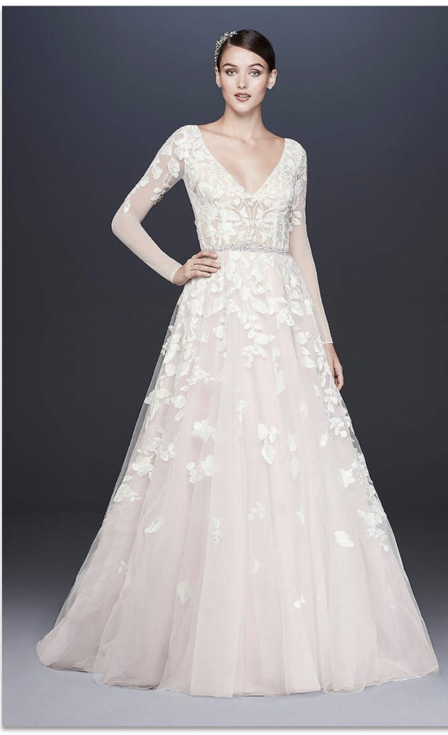 Galina Signature, Illusion Sleeve plunging  Ball Gown Wedding Dress,