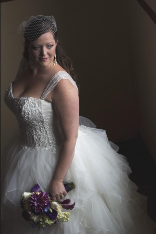 Oleg Cassini Strapless Ruffled Skirt Wedding Dress