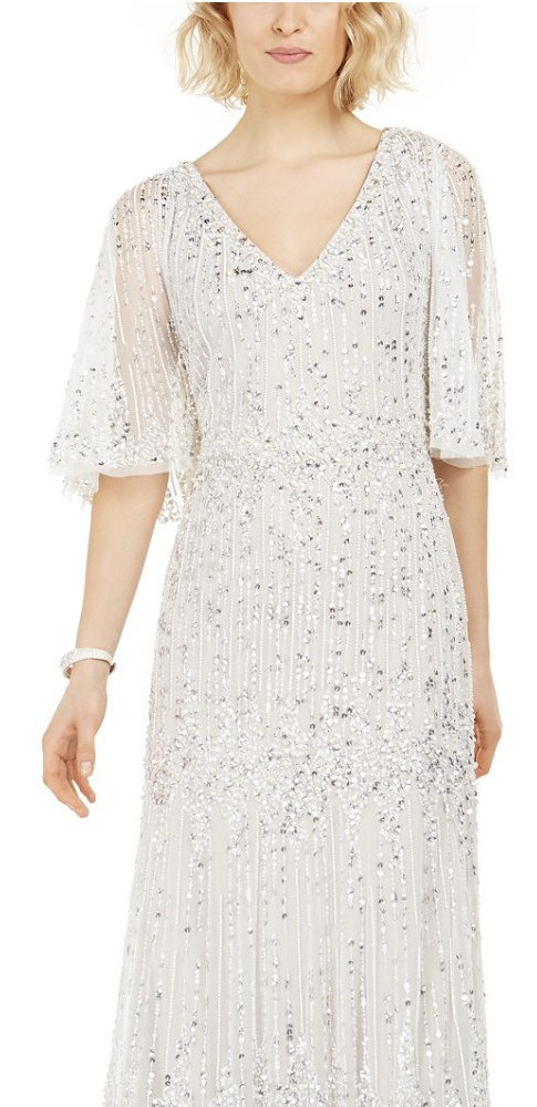Adrianna Papell Long Beaded Cape Dress with Sequin Detail