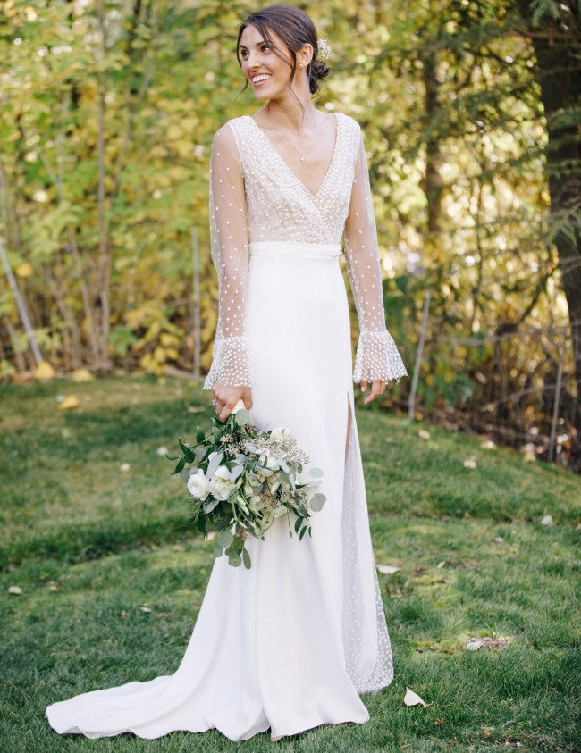 Rime Arodaky Joni Swiss-dot tulle and crepe gown