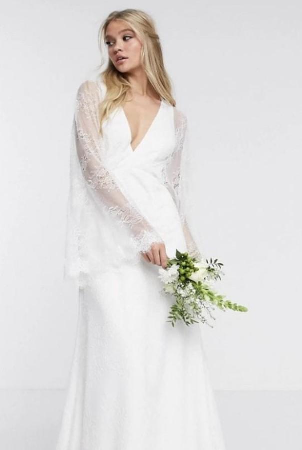 ASOS Bridal Asos edition lace kimono sleeve dress