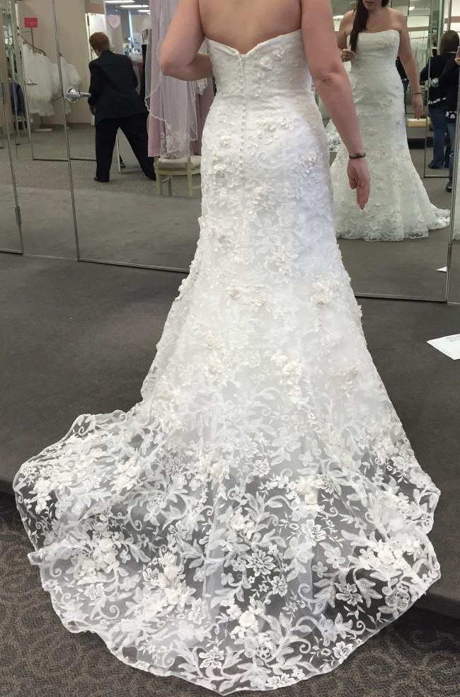 Oleg Cassini Subtle Pink 3D Floral Wedding Dress