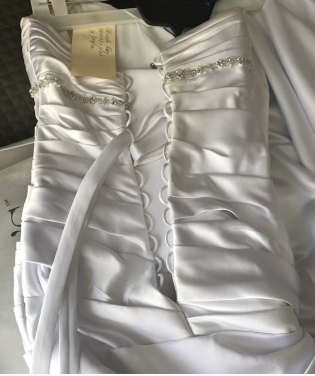 David's Bridal Satin mermaid gown with Bow