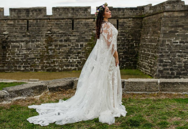 BHLDN Lombardy Gown & Anastasia Cape