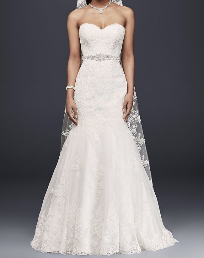 David's Bridal, Sweetheart Trumpet Gown with Vera Wang Veil
