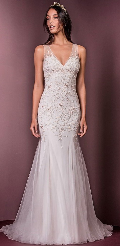 Ellis Bridal Embroidered Tulle Dress Style 12254