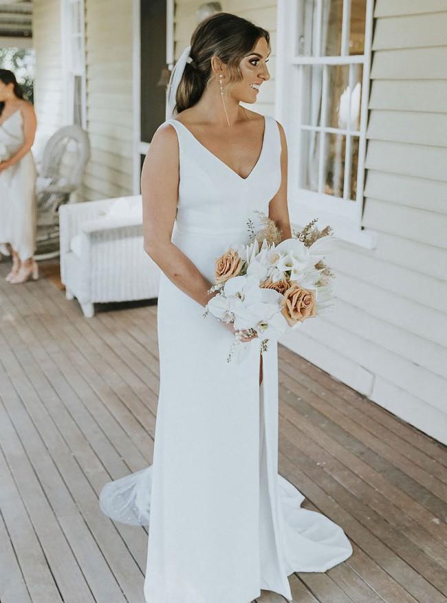 Alca Line Bride, Classic white dress - custom made