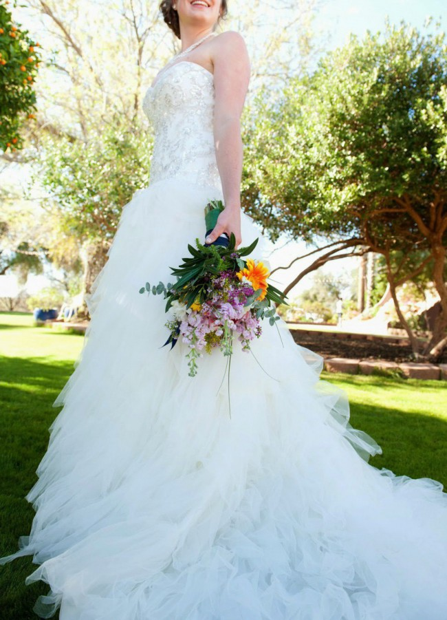 David's Bridal Strapless Tulle with Ruffled Skirt
