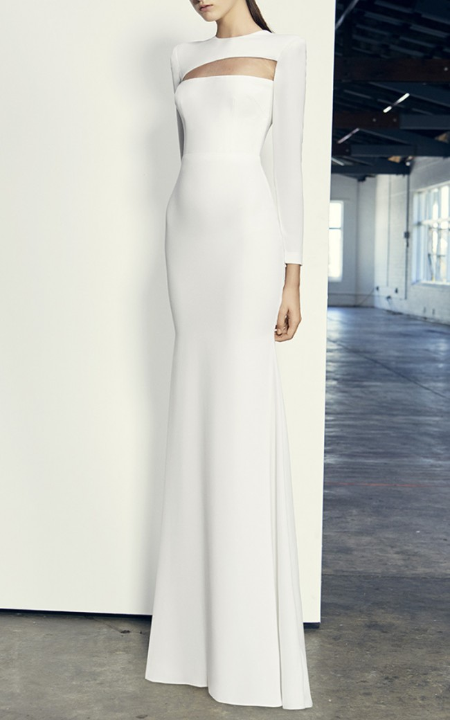 Alex Perry, Jordan - Satin Back Sheer Long Sleeve Gown