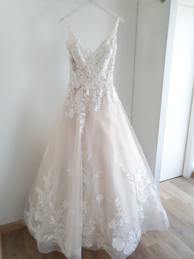 Justin Alexander Tulle and Lace Ball Gown with Chapel Length Train