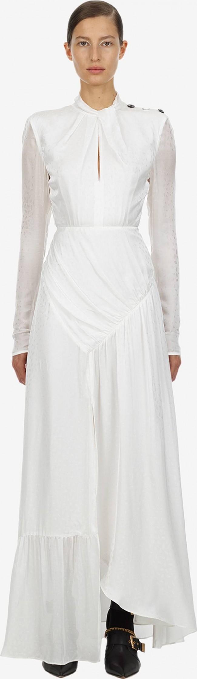 Self Portrait, Ivory Twist Neck Maxi Dress (SP21-0641)