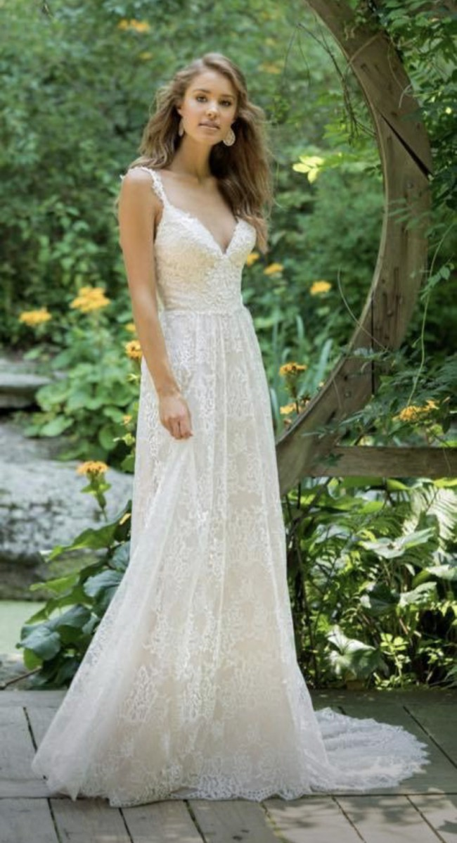 Lillian West Allover Embroidered Lace Gown with Straps STYLE 66