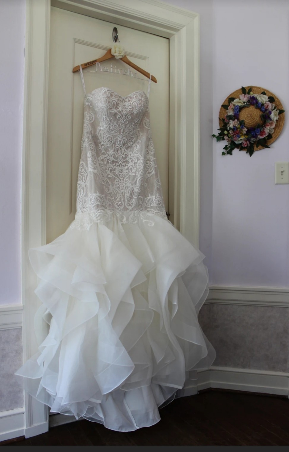 Oleg Cassini Scroll Lace Trumpet Wedding Dress Wedding Dress On Sale 41% Off