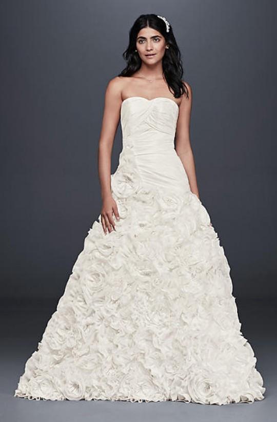 David's Bridal Collection, Rosette Skirt Wedding Dress