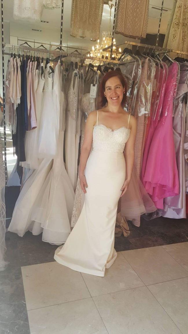 Portia & Scarlett Ivory Frozen Sienna Dress with Lace Train