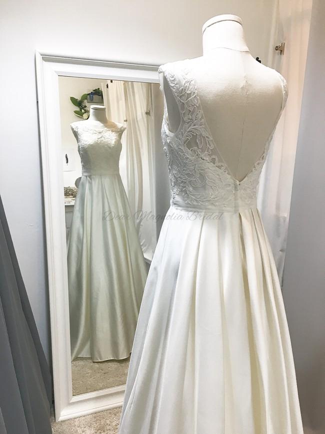 David's Bridal Appliqued Cap Sleeve A-Line Wedding Dress
