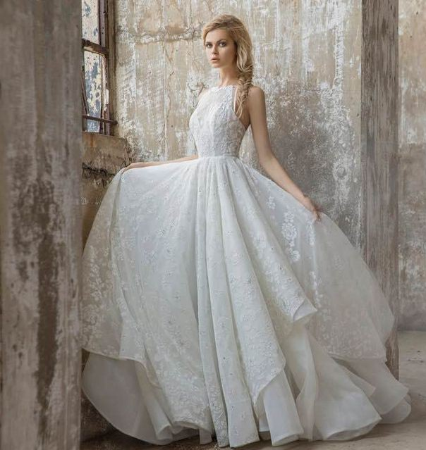 Hayley Paige Reagan Floral Embroidered Layered Ballgown