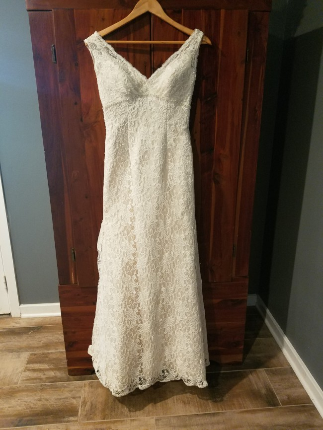 David's Bridal, All Over Beaded Lace Trumpet Wedding Dess